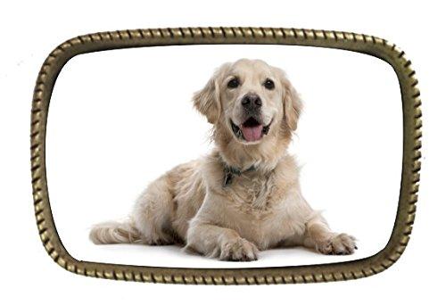 Golden Retriever Belt (Golden Retriever Sitting Brass Belt Buckle Full Color)