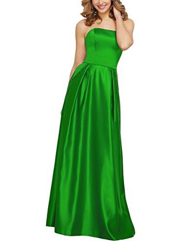 Drehouse Hors De L'épaule Satin Longues Robes De Fête De Mariage Robes De Demoiselle D'honneur Avec Vert De Poche Des Femmes