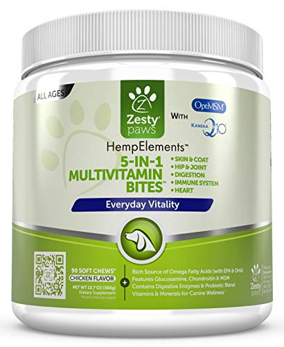Multivitamin for Dogs - Glucosamine & Chondroitin + MSM for Hip & Joint + Arthritis Relief - Digestive Enzymes & CoQ10 + Fish Oi