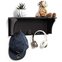 SONGMICS Wooden Hanging Entryway Shelf 3 Dual Hooks, Wall-Mounted Hat Coat Rack, Simple Storage Display Stand, Espresso ULES03BR, 18.9L x 5.9W x 7H