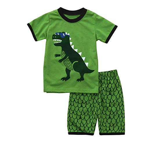 Hot Sale! Toddler Kids Baby Boys Dinosaur Pajamas Cartoon Print T Shirt Tops Shorts Outfits Set (Green, 5T)
