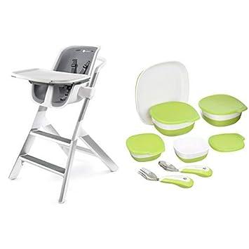 Amazon.com: 4 moms Blanco/Gris alta silla con Starter Kit: Baby