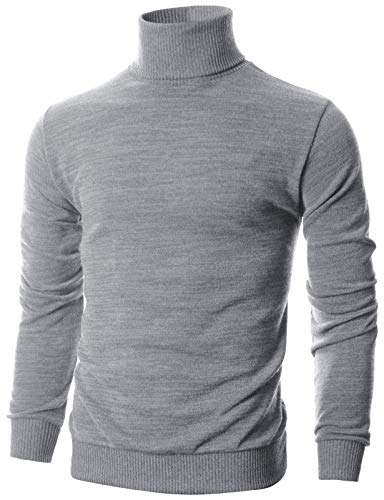 Ohoo Mens Slim Fit Long Sleeve Turtleneck Mixed Ribbed Hem Pullover Sweater/DCP024-GREY-S (Ribbed Poncho)