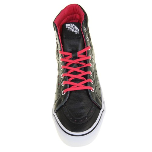 Vans Sk8-Hi Slim Leather Perf Hearts Black Red marrón