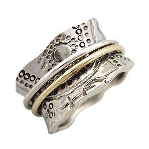 Energy Stone Sun Worship Far East Styling Sterling Silver Meditation Spinner Ring for Women with Brass and Silver Spinners (Style US14) (7)