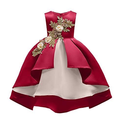 Flowers Girls Ruffles Dresses Birthday Parties High-Necked Lace Swing Dress Sleeveless 6 Years 6T (Wine,130)