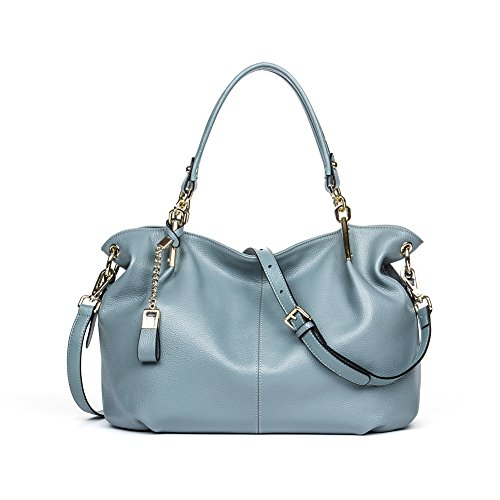BOSTANTEN Leather Designer Handbags Satchel Tote Shoulder Cross Body Bags for Women Blue-grey (Blue Leather Handbags)