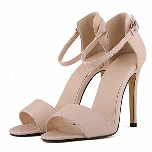 HooH Mujer Tacón alto Verano Sandalias Peep Toe Correa de tobillo Zapatos de tacón Sandalias Beige