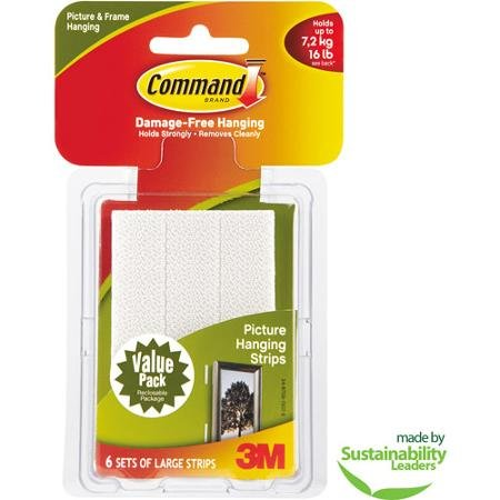 Command Large Picture Hanging Strips, White, 6 Sets of Strips by 3M