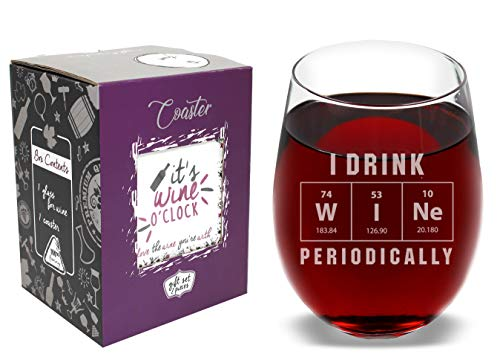 The Mediaholics I Drink W I Ne Periodically Funny Stemless Wine Glass Coaster and Gift Box - 17 Oz - Cool Birthday Idea for Mom Wife Girlfriend Sister Friend Coworker Daughter Teacher Student Geek