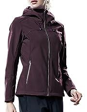TAK Damen Softshell Jacke Wasserabweisend Übergangsjacke Outdoor Winddichte Warme Funktionsjacke mit Kapuze