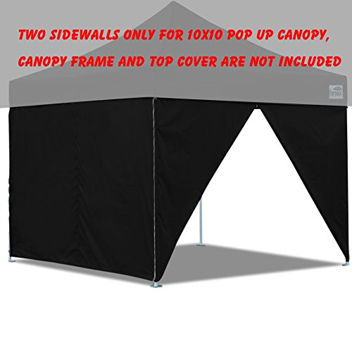 Sidewall Panel (Two Sidewalls for 10x10 Pop up Tent Canopy Side Walls With Zipper Door, Zipper End (2 walls only) (Black))