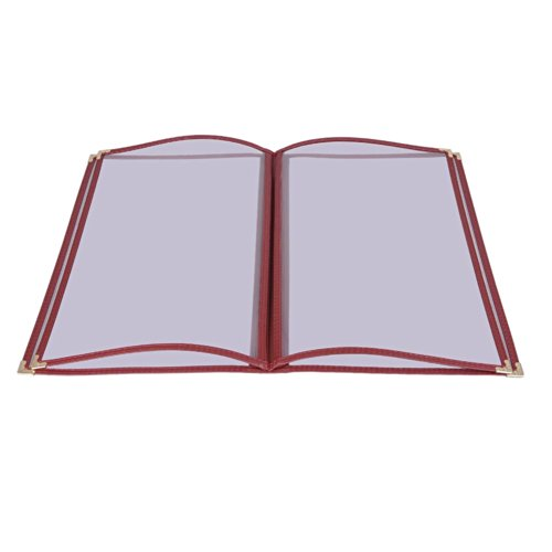 20 PCS 8-1/2 in x 14 in 8 View Restaurant Menu Cover All Sides are Sewn with Leatherette Trim Double Stitched with Matching Color Thread Two Elegant Gold Metal Corners US Delivery (Red)