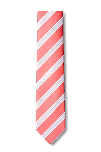 Boys Jefferson Coral Stripe Necktie Tie Neckwear by Silk Rhino