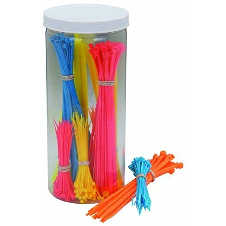 Storage Container! 500 Piece Fluorescent Cable Tie Ties Assortment 4 /& 8 Lengths