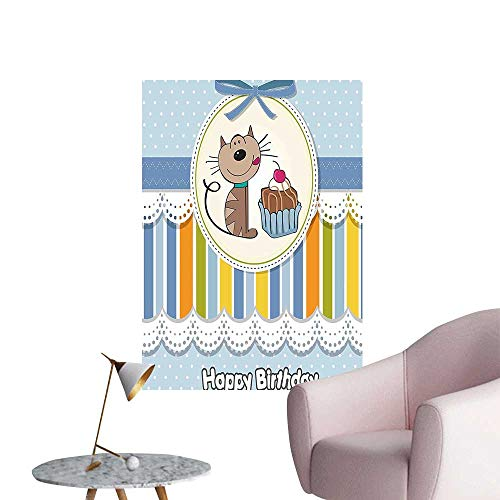 Wall Stickers for Living Room for Kids Present Wrap Like Image Chocolate Cake Cat Party Baby Blue and Vinyl Wall Stickers Print,32