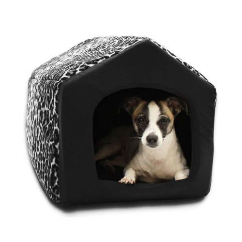 Best Friends by Sheri 2 in 1 Pet House-Sofa Pet Bed, 13 by 12 by 13-Inch, Small, Leopard White, My Pet Supplies