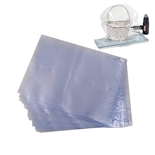 LazyMe Basket Cellophane Shrink Bags, 24x30 inch, Shrink Wrap Bags Large, Clear, 20 Packs