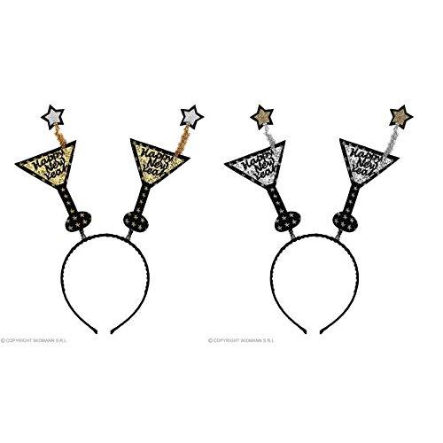 lively moments 2 Nochevieja Diadema con Dos Antenas Happy New Year en Cristal Martiniglas - Forma / Tocado: Amazon.es: Juguetes y juegos