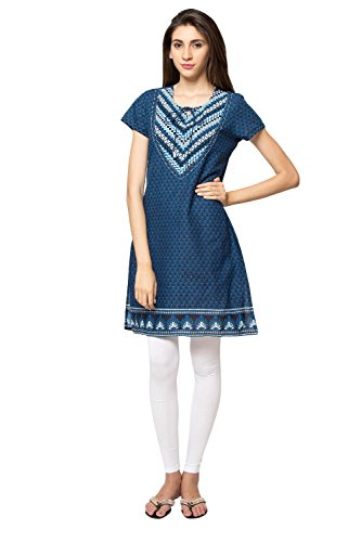 Ethnicity Women's Indian Blue Abstract Print Kurta Tunic; SM; Blue by In-Sattva