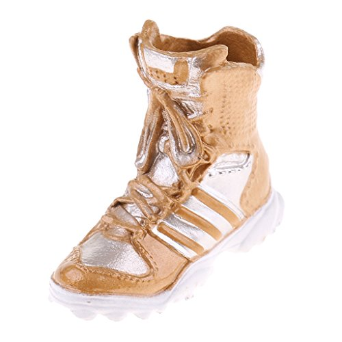 Homyl 1/6 Scale Women Shoes Combat Boots for 12 INCH Phicen Soldier Body - Black, as described Gold