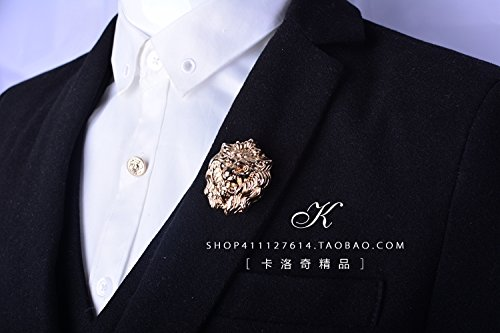 Pin Head Lion (Male lion head corsage brooch Jaese and Korean fashion accessories igan sweater shawl pin large brooch pins jewelry)