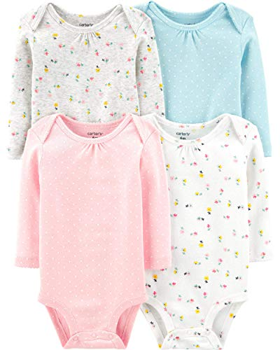 Carter's Unisex-Baby 4-Pack Long Sleeve Bodysuits (Multi/Pink/White, 6 Months)