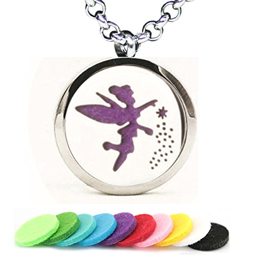 GFONDINGD Aromatherapy Essential Oil Diffuser Necklace Flower Wing Fairy Pattern Stainless Steel Locket Pendant]()