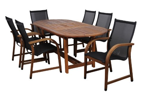 Amazonia Bahamas 7-Piece Eucalyptus Oval Dining Set (Oval Extendable Table)