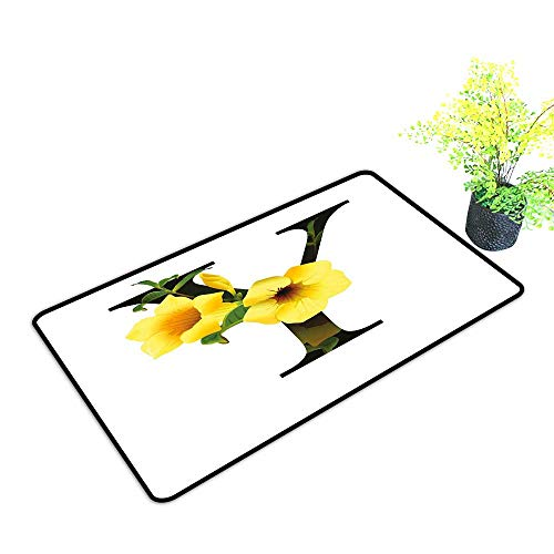 Non-Slip Door mat Letter Y Y Letter with Yellow Bell Flower Natural Representation in Abstract Design W31 xL47 Hard and wear Resistant Yellow Green Black