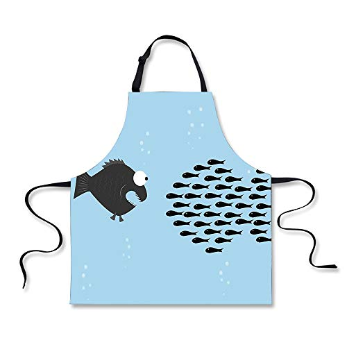 iPrint BBQ Apron,Ocean Animal Decor,Little Fish Crew Band to a Large Fearful Bubbles Friendship Humor Theme,Blue Black, Apron.29.5