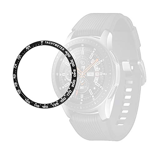 Sagton Bezel Ring Anti Scratch Stainless Steel Adhesive Cover Prevention Accessories for Galaxy Watch 46mm / Gear S3 Frontier & Classic, for Galaxy Watch Accessory (Black)