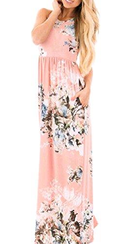 size Plus Vestito Spiaggia Lunga donne Maniche Senza Allentata Floreale Rosa Tasca Stampa Stylish Coolred 6Y7n0Hqw