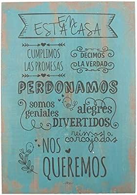 Enkolorcuadro Maderafrases Positivasnormas De La Casaartesanalazúl40x60cm