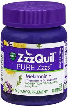Amazon.com: ZzzQuil Pure Zzzs Melatonin + Chamomile & Lavender Gummies Wildberry Vanilla Flavor - 24 ct, Pack of 4: Health & Personal Care