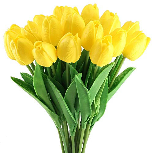 GTIDEA 20 Pack Artificial Tulip Flower Branch Latex Real Touch Fake Flores Wedding Bouquet Home Party Decor (Yellow)
