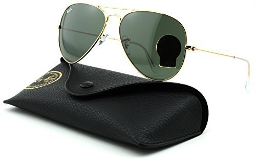 Ray-Ban RB3025 Aviator Large Metal Unisex Aviator Sunglasses (Gold Frame/Grey Green Lens L0205, - Ban Ray L0205