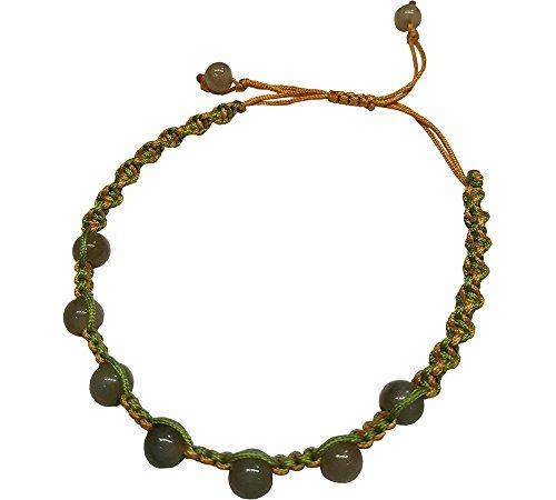 Infinity Jade Bead Bracelets green yellow Feng Shui for Men, Women ()