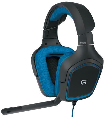 Logitech G430 7.1 DTS Headphone: X and Dolby Surround Sound Gaming Headset for PC, Playstation 4 - On-Cable Controls - Sports-Performance Ear Pads - Rotating Ear Cups - Light Weight Design, Blue/Black ()