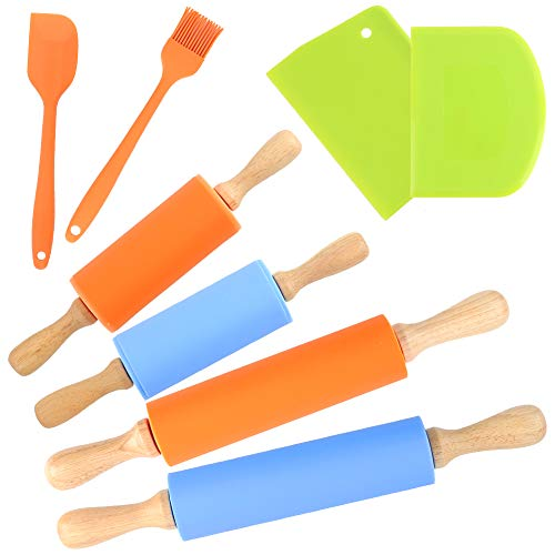 Koogel 8PCS Silicone Rolling Pins Set,15inch Non-Stick Rolling Pins 9inch Kids Rolling Pin Scraper Chopper Silicone oil brush Spatula for Parent-Child Baking