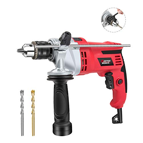 Hammer Drill, 7.0A 1/2? Rotary Hammer Drill with Dual Drill Modes, Variable Speed, Reversible Handle and Metal Depth Gauge for Masonry, Wood and Steel, 2 SDS Drill Bits included, Masterworks MEID377