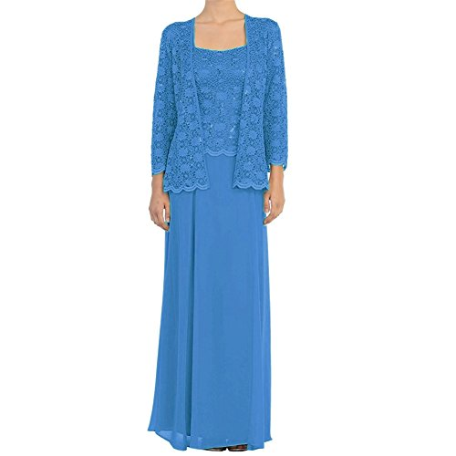 H.S.D Mother of The Bride Dress Chiffon Long Formal Gowns with Bolero Blue ()