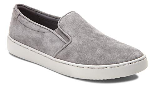 Vionic Women's Pro Mahoney Avery Slip-on - Ladies Water Resistant Slip Resistant Service Shoes with Concealed Orthotic Arch Support Charcoal Suede 11 W US