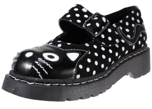 TUK Anarchic Mary Jane Ladies Shoes Black And White Polka Dot