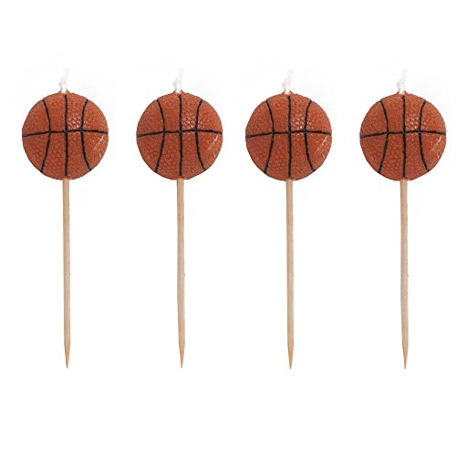 Creative Converting 4 Count Sports Fanatic Basketball Shaped Pick Candles - 101764