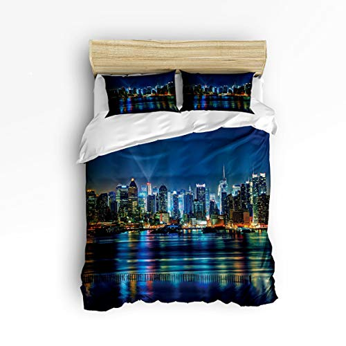 3 Piece Polyester Fabric Bedding Set with Zipper Closure Full Size, Gorgeous City Night Lake Comforter Cover Set Duvet Cover with 2 Pillow Shams for Girls/Boys/Kids/Children/Teen/Adults