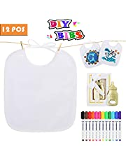 Lenbest 12Pcs DIY Bandana Bibs, White Dribble Bibs for Drawing with 12 Pcs Textile Marker Pens and 1 Bottle Opener, Waterproof Drool Bibs for Baby Shower - Not Easy to Fade After Washing