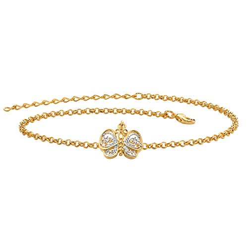 (Palm Beach Jewelry Two-Tone 18k Gold-Plated Filigree Butterfly Ankle Bracelet Adjustable 9