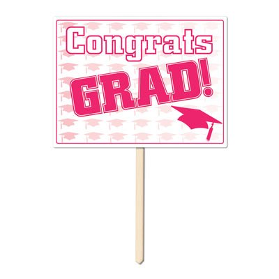 Plastic Congrats Grad Yard Sign (pink) Party Accessory  (1 count)]()