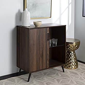Image of Walker Edison Furniture Company Mid-Century Modern Buffet Sideboard Kitchen Dining Storage Bar Cabinet Living Room, Walnut Brown Home and Kitchen